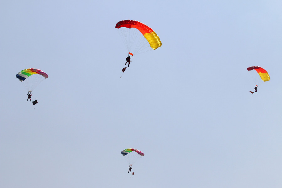A Nepal Army man injured during parachute jump