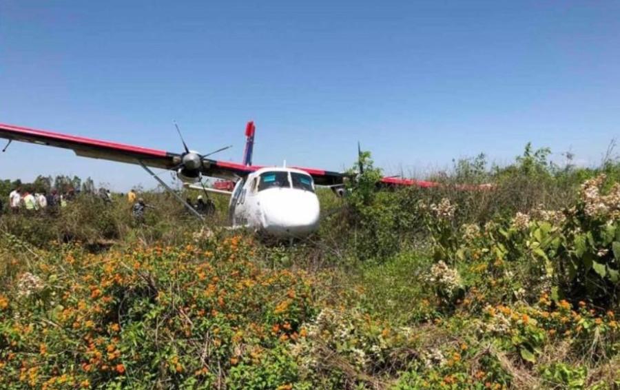 Nepal Airlines plane sent to bring swab samples skids off runway in Nepalgunj